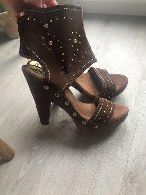 Platform High-Heeled Sandal brown-gold-colored