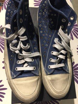 Candice Cooper Sneaker alta crema-blu