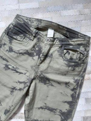 Vila High Waist Trousers olive green-khaki cotton