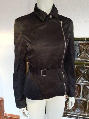 sehr edle Jacke von kenvelo Größe S 36 wachsartiger Stoff fließend schwarz