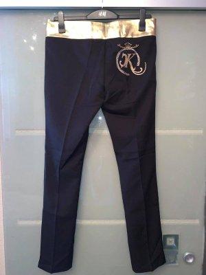 Pantalón anchos negro-color oro tejido mezclado
