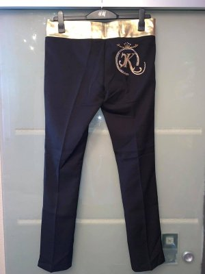 Pantalon Marlene noir-doré tissu mixte