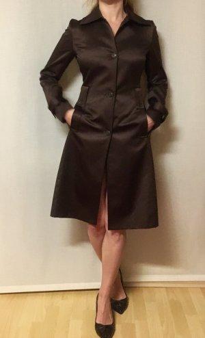 Zara Abrigo de cuero marrón-negro-marrón oscuro