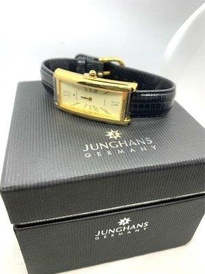 Junghans Montre avec bracelet en cuir noir-doré