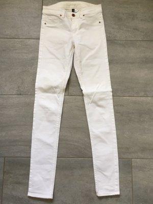 H&M Divided Pantalon taille basse blanc