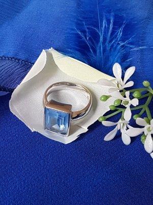 """Sehr geschmackvoller """"Pierre Lang Ring"""" mit aquamarinfarbenem Swarovski Stein"""