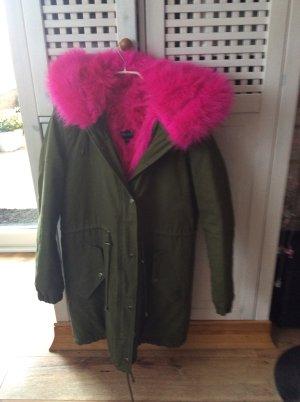 Osley Abrigo con capucha caqui-rosa