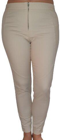 Sehr gute, pflegeleichte beige Bi-Elastische Hose mit Gummibund, Größe 36