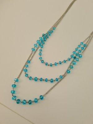 sehr lange Kette 3 reihig mit hellblauen Perlen vintage