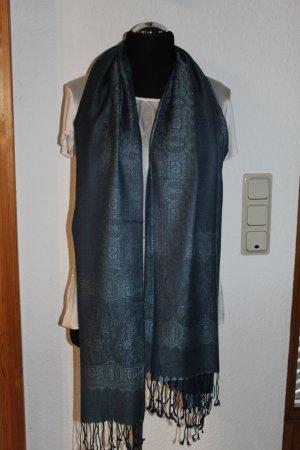 Sehr schön gemusterter Schal in schimmerndem blau
