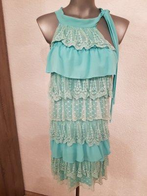 Vestido de tela de sudadera turquesa