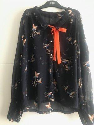 Atmosphere Transparentna bluzka ciemnoniebieski-pomarańczowy neonowy Poliester