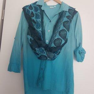 sehr schöne Bluse ,türkis Farbenspiel von unten nach oben helleres Türkis, Gr  XL