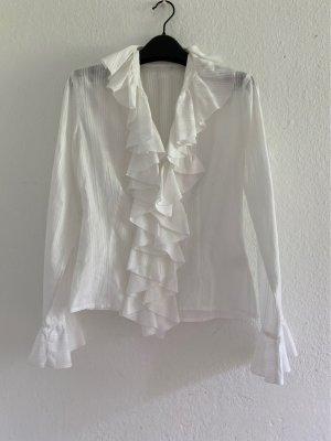 Anne Fontaine Blouse à volants blanc coton