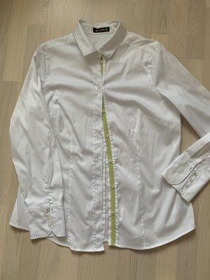 Sehr schöne Bluse von Jacques Britt mit hellgrüner Blende an der Knopfleiste