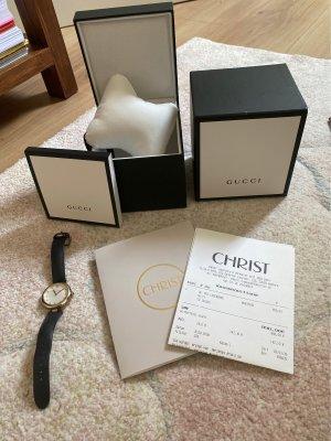Gucci Reloj con pulsera de cuero color oro-marrón oscuro Cuero