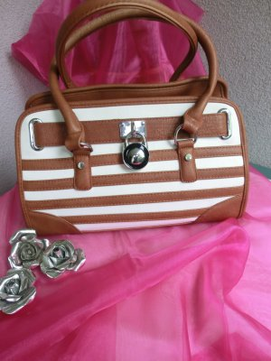 Sehr schöne Handtasche braun weiss gestreift.