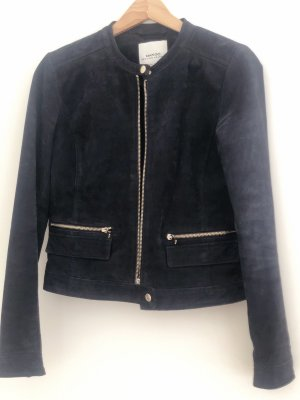 Mango Leather Jacket dark blue-silver-colored leather