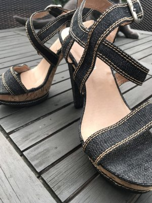 Strapped pumps dark blue-oatmeal