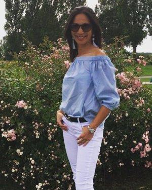 Tommy Hilfiger Blusa alla Carmen azzurro Cotone