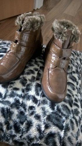 sehr schöne Vitaform Stiefeletten Leder braun mit Fell Gr. 38