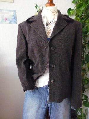 Cartoon Wool Blazer taupe-black new wool