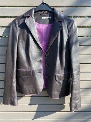 More & More Blazer in pelle marrone-nero-rosa