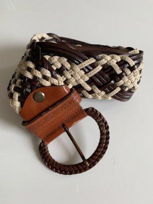 Cinturón de tela marrón-crema