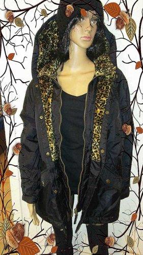 Hooded Coat black-beige mixture fibre