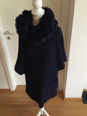 Long Cardigan silver-colored-dark blue