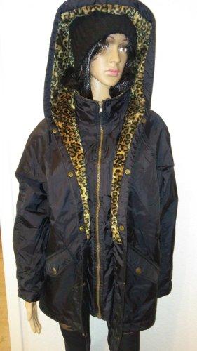 Cappotto con cappuccio nero-beige Tessuto misto