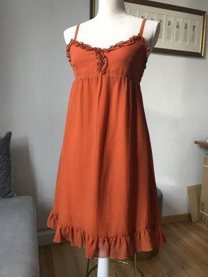 C'est Tout Pinafore dress dark orange silk