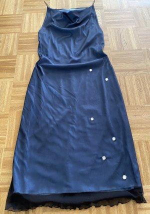 Robe mi-longue noir-bleu fluo