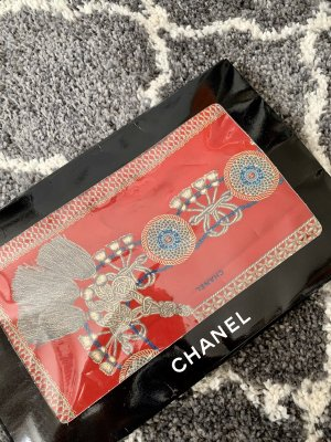 Chanel Jedwabna chusta czerwony-biały