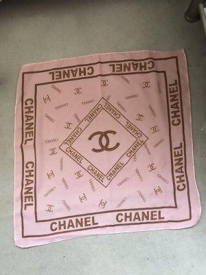 Chanel Foulard rose-marron clair mousseline de soie