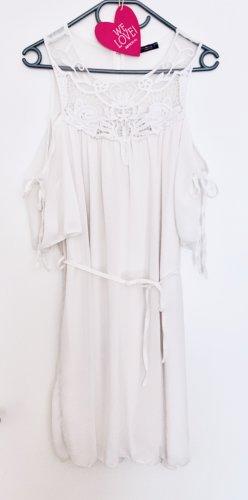 Sehr süßes Sommerkleid zum Binden Spitze offshoulder weiß Größe 40 L wie neu