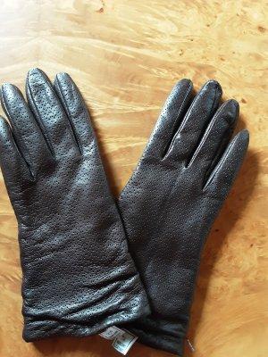 Leren handschoenen donkerbruin Leer