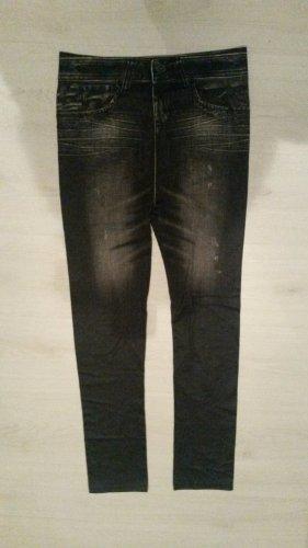 SEI DER STAR !! BLOGGER !! super weiche besondere Dark Denim Black Strech Leggins Jeggins Jeans Optik Hose