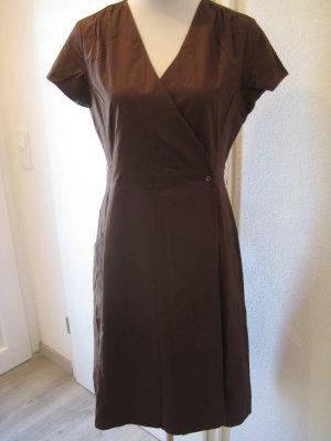 Seide & Baumwolle Kleid klassisch Braun Wickeloptik Gr 36