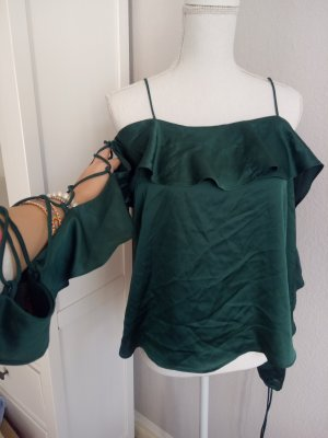 Seide Top Shirt Bluse Volants cut outs Blogger Grün Satin M 38 Schulterfrei