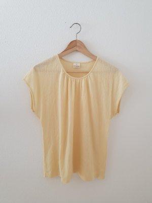 Seidel Modell vanille gelb pastell hellgelb Struktur Rundhals Shirt weit onesize leicht Sommer