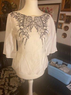 Byblos Zijden blouse wit-zwart
