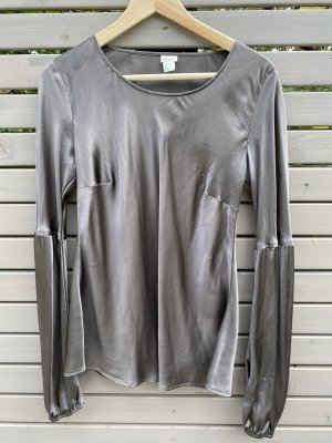 Hess Natur Glanzende blouse donkergrijs-taupe