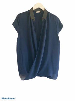 iheart Blusa in seta blu scuro-nero