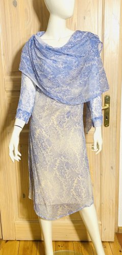 Szyfonowa sukienka biały-błękitny Jedwab