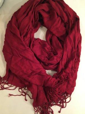 Écharpe à franges rouge foncé viscose