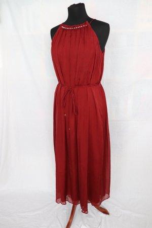 Seiden Kleid von Hallhuber in Bordeaux rot Größe S 36 38