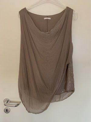 Top in seta talpa-marrone-grigio