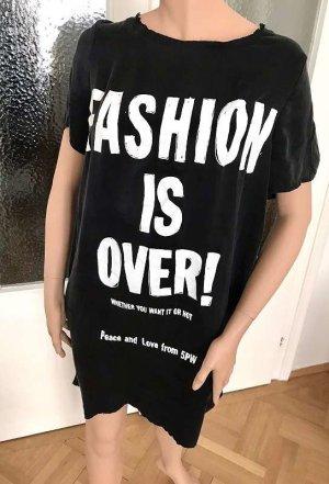 5 Preview T-shirt jurk wit-zwart Zijde