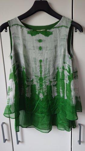 Phase eight Jedwabny top w kolorze białej wełny-zielony